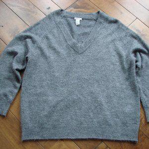 H&M Basic Gray V-neck Slouchy Oversize Sweater